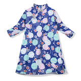 雅童小铺 宝蓝底和风樱花 Girls cotton cropped sleeves cheongsam dress Spring and autumn retro children's dress