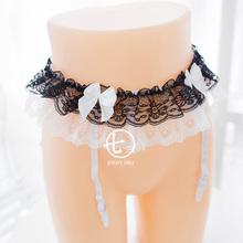 包邮 黑白蕾丝双层吊袜女仆风可爱情趣吊袜带 全店3件