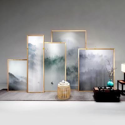 静观玄览金色折叠可换画面隔断山水隔断客厅分体移动中式金属屏风