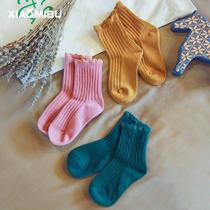 儿童袜子秋季薄款2018新款女童纯棉公主中筒袜小女孩花边透气棉袜