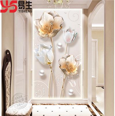 现代欧式玄关瓷砖背景墙3d走廊过道餐厅客厅沙发浮雕装饰壁画花瓶使用感受