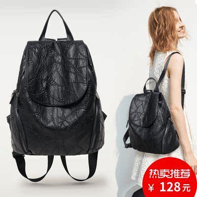 2017年新款时尚韩版女双肩包大容量背包休闲书包配羊皮真皮包包潮