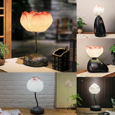 创意现代新中式台灯田园客厅卧室床头灯装饰简约荷花书房温馨台灯