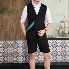 2019夏季大牌时尚织带设计马甲套装韩版修身双排扣马甲短裤套装潮