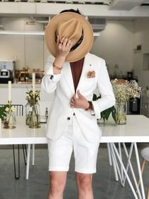 2018春夏季男士小西装韩版修身短裤西服套装英伦时尚俩件套潮男