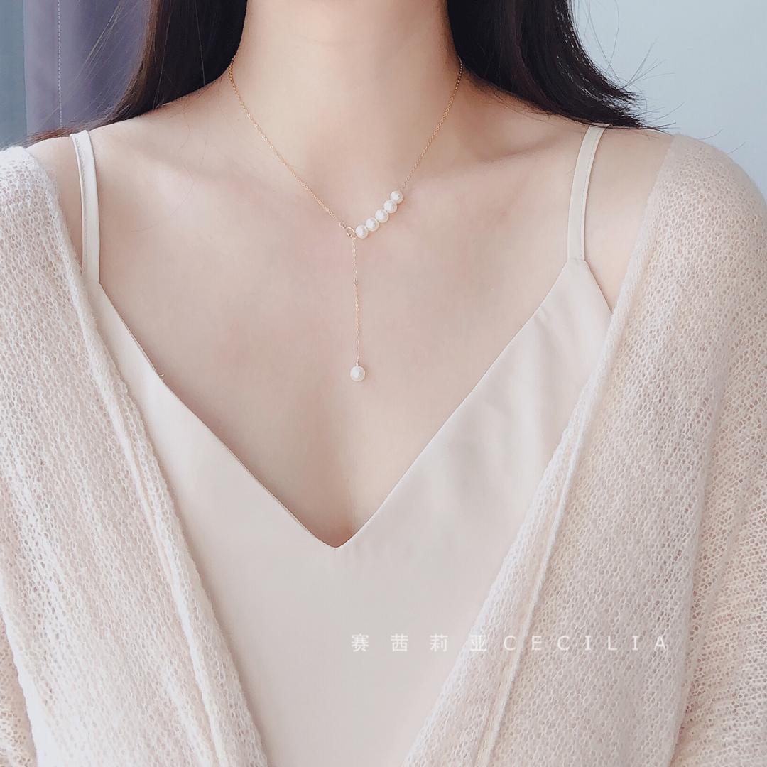 超值入!多种戴法天然珍珠14K包金法式少女Y形项链锁骨链气质百搭