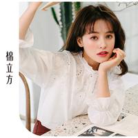 宽松长袖白衬衫女棉立方2019新款春装女装韩版荷叶花边领绣花衬衣