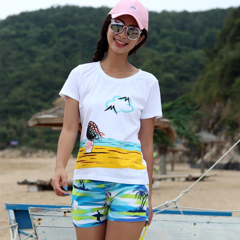 海边度假套装女夏纯棉T恤速干沙滩裤海南三亚旅游大码休闲短裤潮
