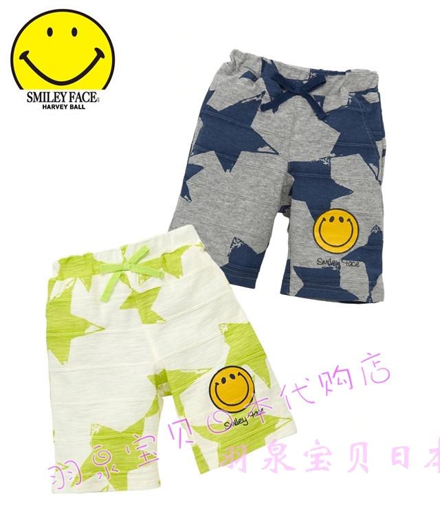 拼邮!日本童装nissen2019春夏男女宝宝笑脸图案五分沙滩裤