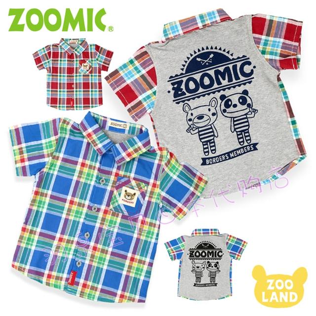 拼邮 日本童装zoomic2019夏大小男童动物园小熊格子纯棉短袖衬衫