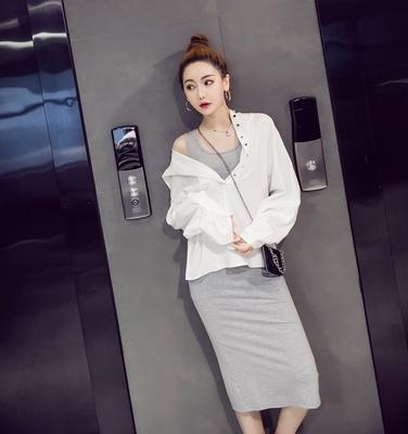 菲儿家欧美2018秋装新款韩版连帽单排扣长袖中长款两件套连衣裙女
