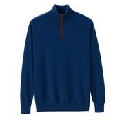 秋冬男装纯羊绒衫男式半高领拉链宽松休闲中青年毛衣套头薄款外套