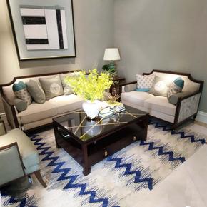 现代新中式沙发 水曲柳实木沙发组合 古典影楼售楼处布艺家具现货