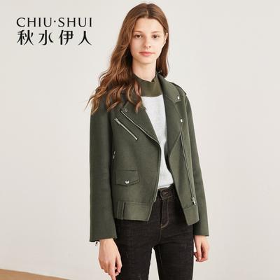 秋水伊人短外套2018冬装新款女装双面呢羊毛毛呢夹克短款上衣女