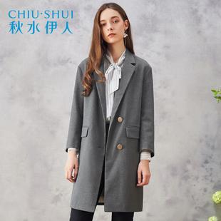 秋水伊人2018春装新品女装纯色经典西装领九分袖修身外套