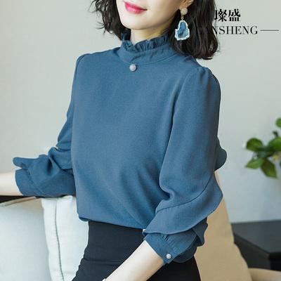 雪紡衫韓版氣質淑女打底時尚洋氣小衫女款長袖上衣女2018新款襯衫