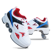 双排双轮暴走鞋 滑板鞋 安格卢特变形鞋 自动四轮两用轮滑鞋 溜冰鞋