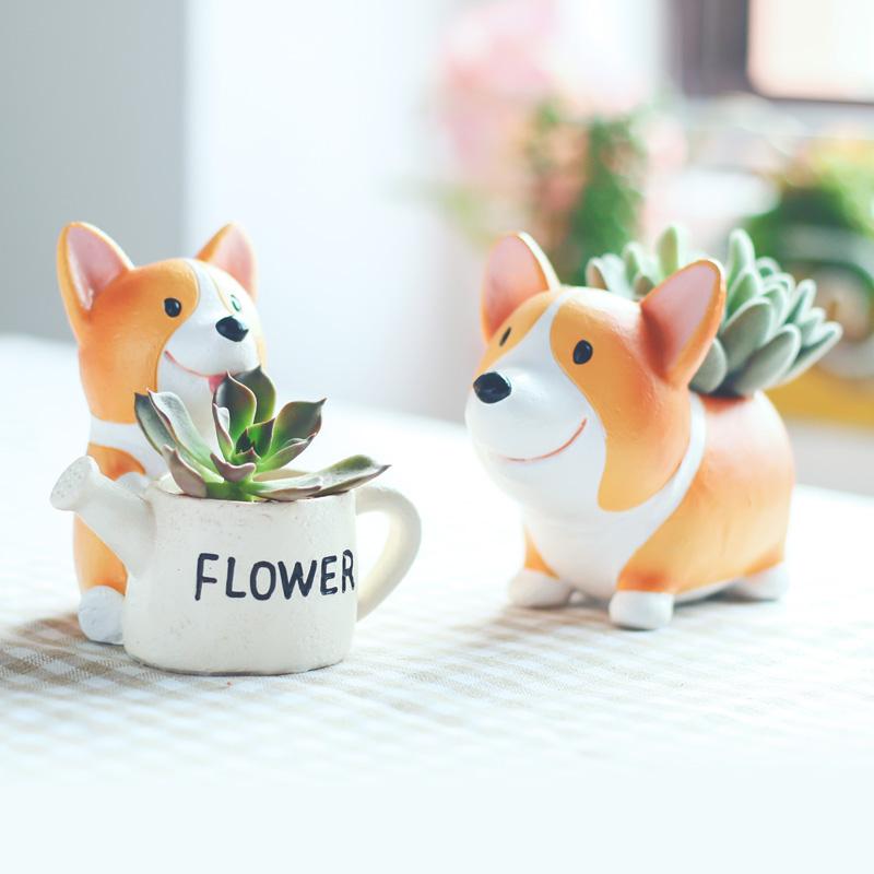 创意卡通动物柯基多肉植物花盆个性微景观可爱盆装饰桌面小狗摆件3元优惠券
