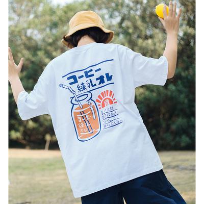 过片夏季2019日系学生休闲后背印花t恤衫圆领宽松短袖T恤女上衣