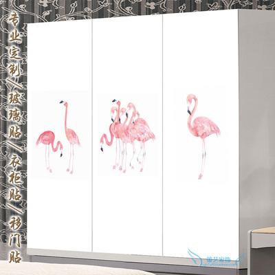 北欧简约衣柜翻新贴纸绿色环保玻璃贴膜橱柜移门卫生间贴画火烈鸟最新报价