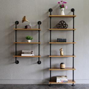 铁艺工业水管墙上置物架复古壁挂实木书架隔板定做家具卧室落地架