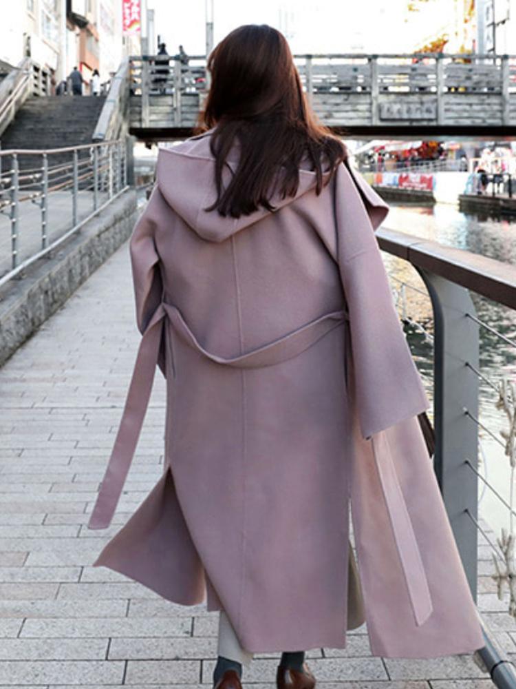 18fw冬 鬼鬼家 韩国代购 披肩领手工款 系带侧开叉大衣羊毛呢外套