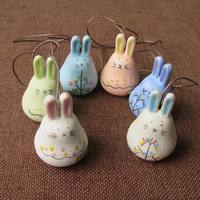Cute Rex Rabbit Ceramic Bells Hanging Ornaments Children's Birthday Christmas Gifts Jingdezhen Ceramic Jewelry Wholesale