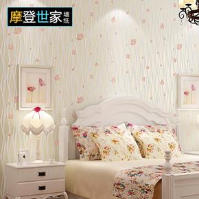 现代小碎花墙纸无纺布田园浪漫婚房卧室女孩房间3d电视背景墙壁纸