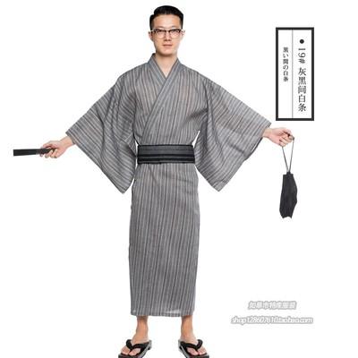 2018 新款日式浴衣 日式和服 秋季浴袍浴衣 男式 长款浴衣 浴袍