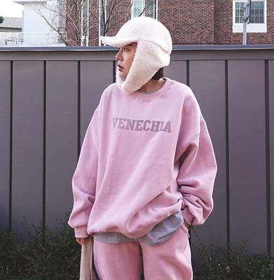 2018冬装新款 韩国代购正品女装 1204 简约字母 粉色宽松圆领卫衣