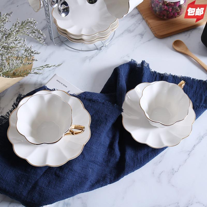 新品英式简约高档陶瓷骨瓷办公室情侣咖啡杯下午茶杯牛奶杯带碟勺