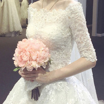Wedding dress New 2018 Korean version of the one-word shoulder long-sleeved trailing lace slimming big code show skinny Wedding Winter