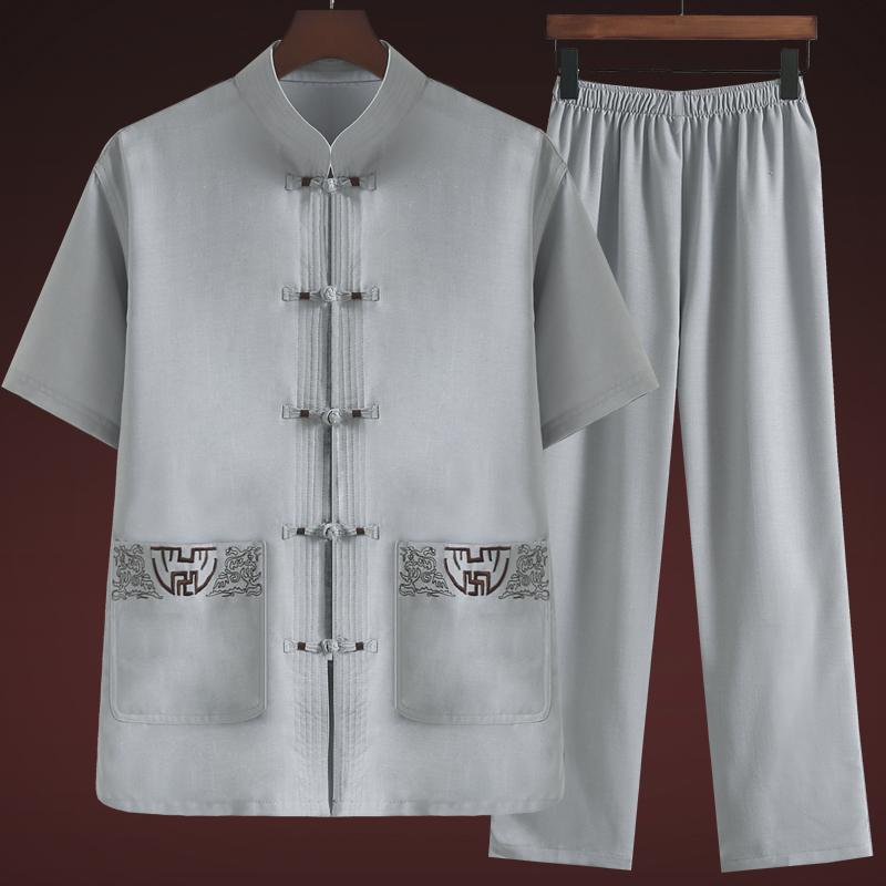 唐装男中老年人复古风亚麻爸爸夏装棉麻爷爷半袖休闲衣服套装短袖