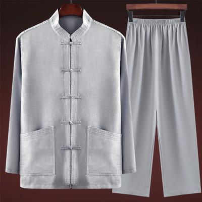 中式唐装男装爸爸长袖套装中老年棉麻爷爷60-70-80岁老人衣服装秋