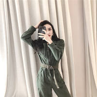 Tooling Long Sleeve Jumpsuit Korean Fashion Lapel Double Pocket Zip Solid Color Women's Belt