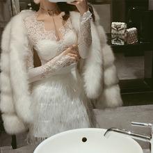 短裙包臀高腰毛毛半身裙长袖修身显瘦低胸蕾丝上衣新款名媛姓感