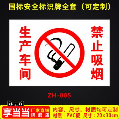 生产车间禁止吸烟仓库重地禁烟标识工厂消防安全警示牌标识牌标志提示牌贴纸定制 ZH-005