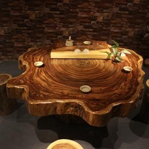 乌金木圆桌大板桌 茶桌 茶台茶几边几实木整块原木天然个性年轮
