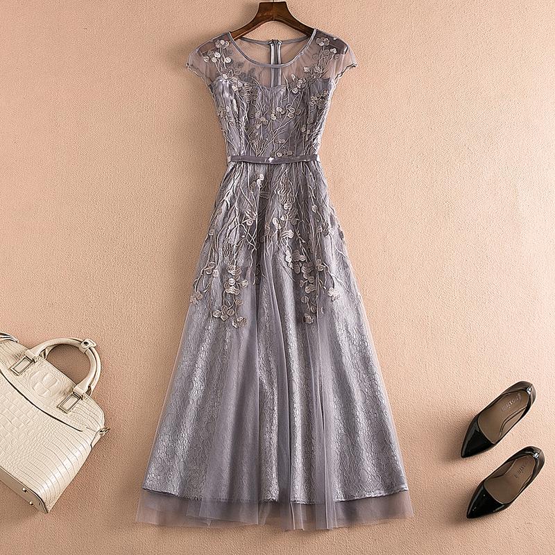 高端连衣裙夏季网袖