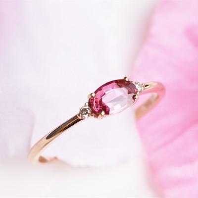 乙涵私珍18k金天然无烧红宝石戒指钻石彩色宝石戒指女玫红鸽血红