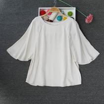 2018夏季H家 女装人造棉绸七分袖宽松印花上衣衫 加大码