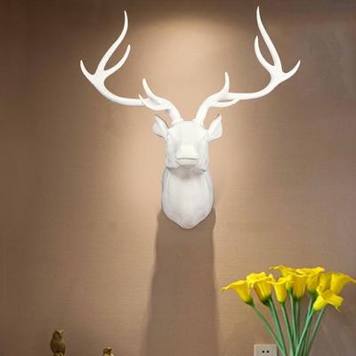 欧式美式鹿头装饰摆件壁挂北欧创意家居动物树脂工艺品墙面装饰品