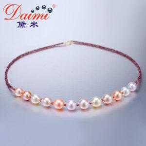 黛米珠宝 糖果8.5-9.5mm圆珠混彩色淡水珍珠项链石榴石18K金扣BKP