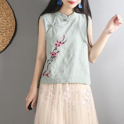 民族风刺绣盘扣棉麻上衣女夏装中式复古茶服中国风无袖亚麻背心