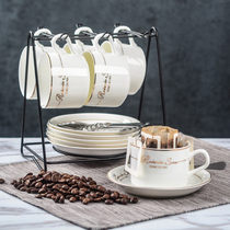 Four FU European Ceramic cup coffee cup set creative simple Home coffee cup with disc spoon rack