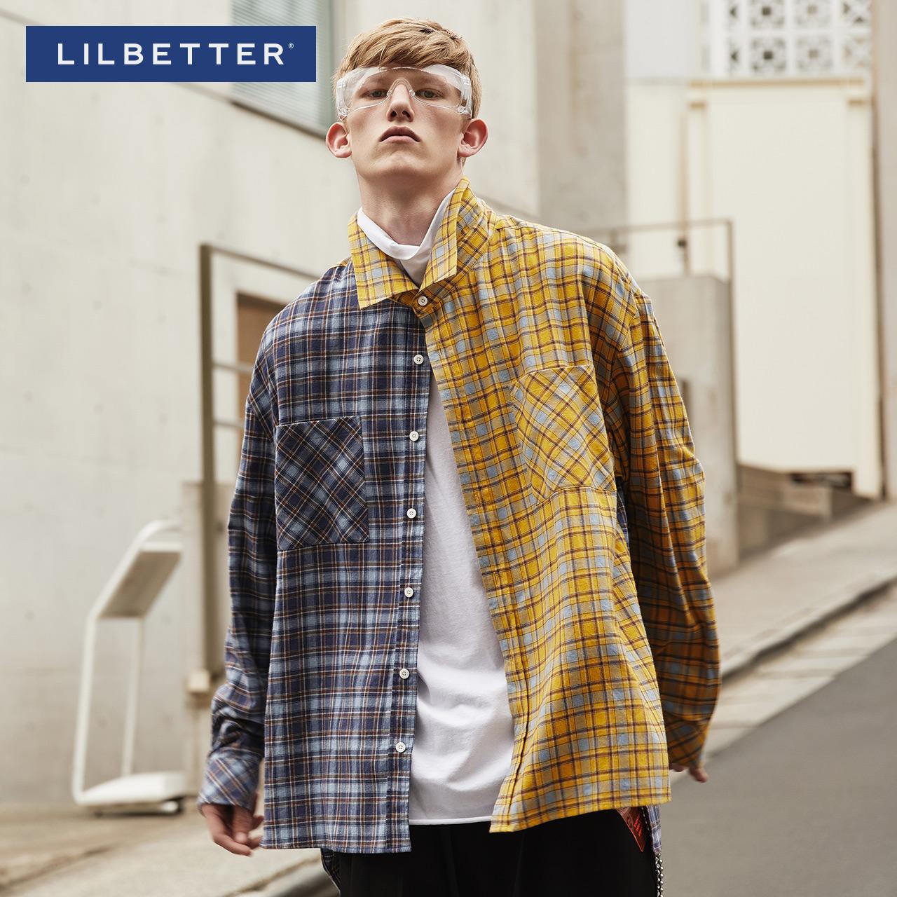 Lilbetter格子衬衫男长袖韩版港风衬衣撞色休闲花衬衫国潮男衬衣