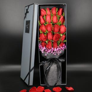 实拍!19朵香槟红玫瑰礼盒花束武汉鲜花速递同城快递生日花店配送