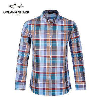 古老鲨鱼男装秋款全棉撞色刺绣格子衬衫长袖大码纯棉商务休闲衬衣