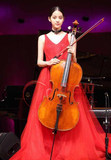 Ouyang Nana with the concert cello performance evening dress girl in the children's art test red mopping princess dress