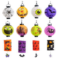 Halloween decoration props pumpkin lantern ghost festival hanging paper lanterns diy portable lighting battery